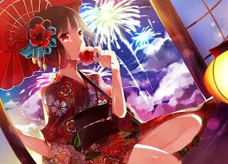 Cute Girl Umbrella Fireworks Lantern Kimono Anime HD Wallpaper Desktop PC Background 1807