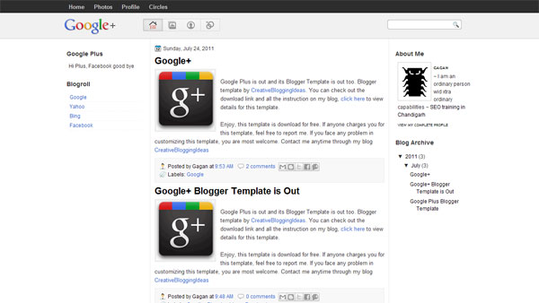 Google Plus Theme for Blogger Blogs