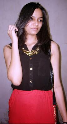 black seethrough shirt, gold buttons, red dipped hem skirt, vero moda black shirt, thrifty shopping