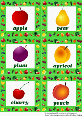 fruit flashcards for learning English