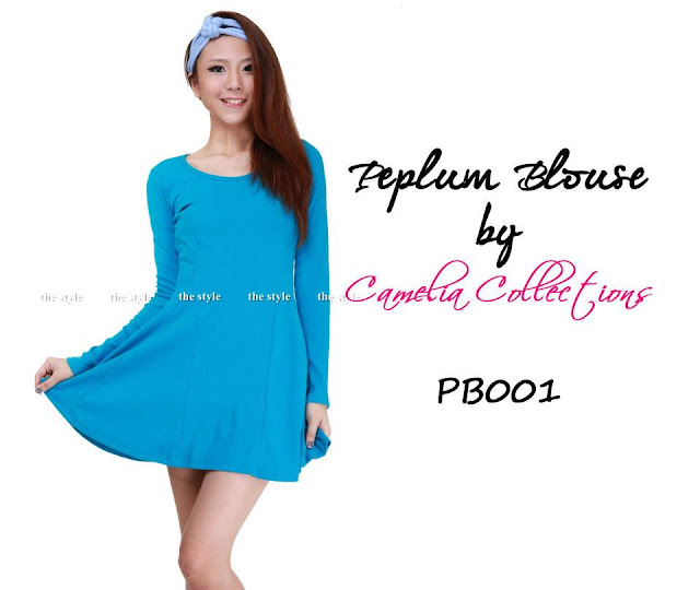 cotton peplum blouse turquoise