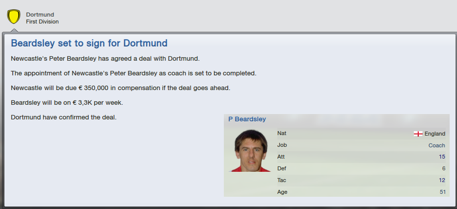 Peter Beardsley signed for BVB Dortmund