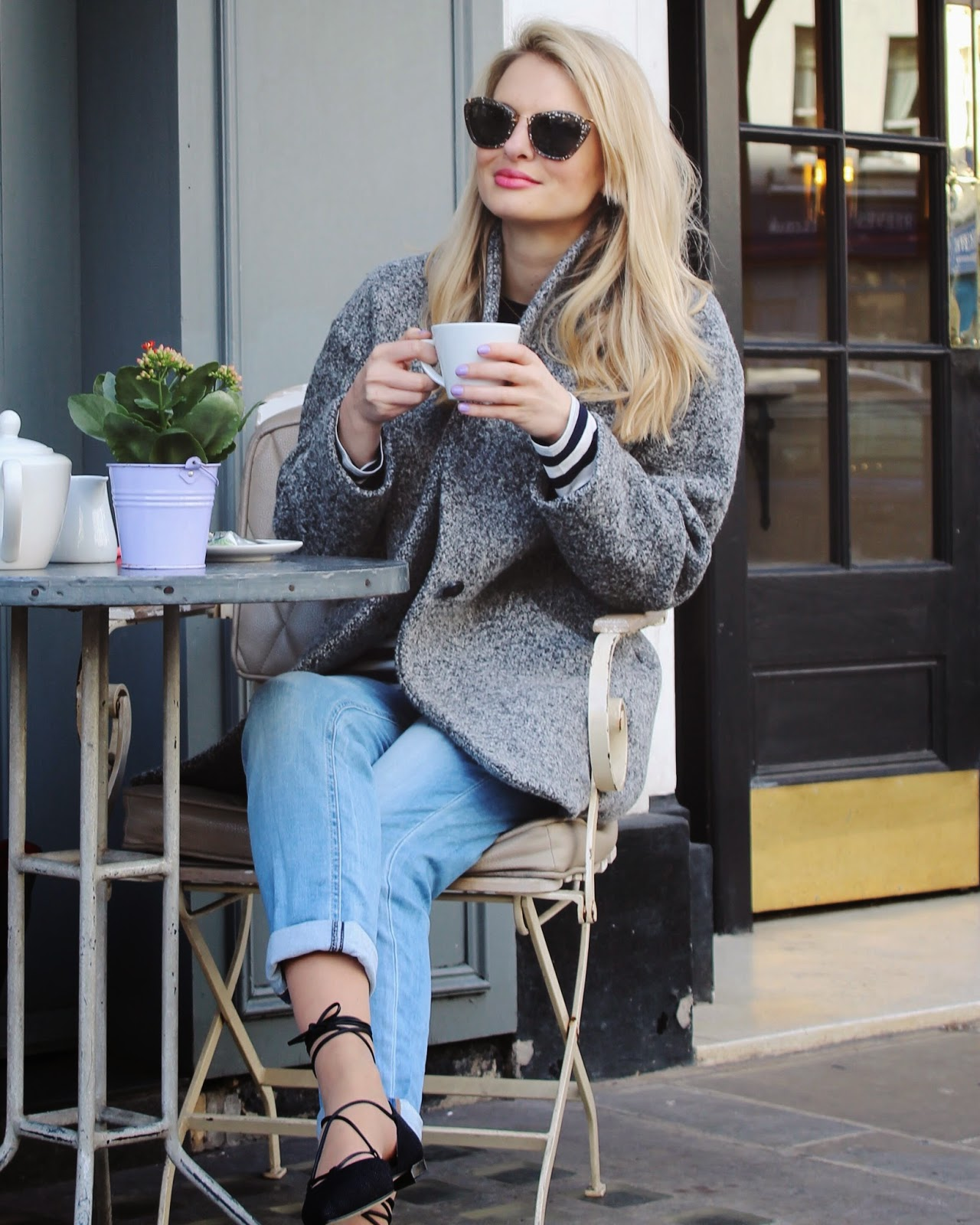 London, london street style, boyfriend jeans, lace up flats, stuart weitzman lace up flats, pointy flats, pointed flats, five jeans, iro coat, miu miu sunglasses, cat eye sunglasses, london blogger, london cafe, aubaine cafe