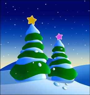 Imagen con 2 árboles de Navidad