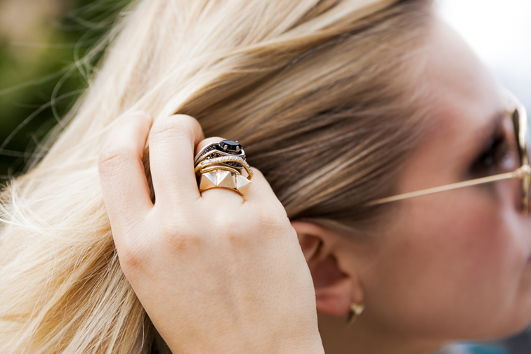 Iosselliani 3 Gold Plated Stacked Rings