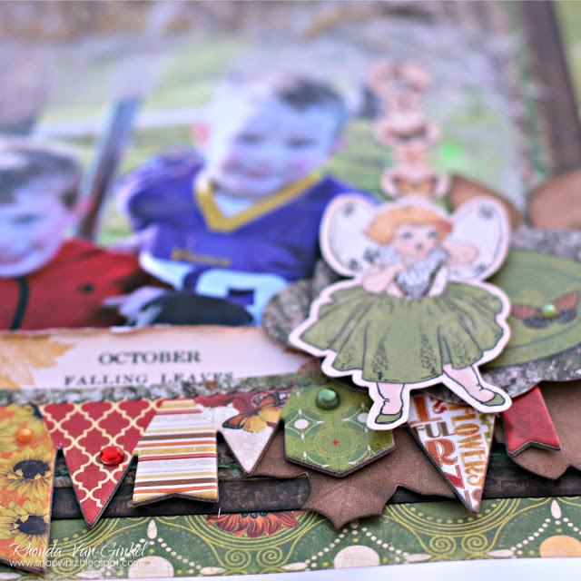 My Happy Place mixed media scrapbook page featuring the Enchanted Harvest collection by BoBunny and the Lovely Leaf Dies designed by Rhonda Van Ginkel