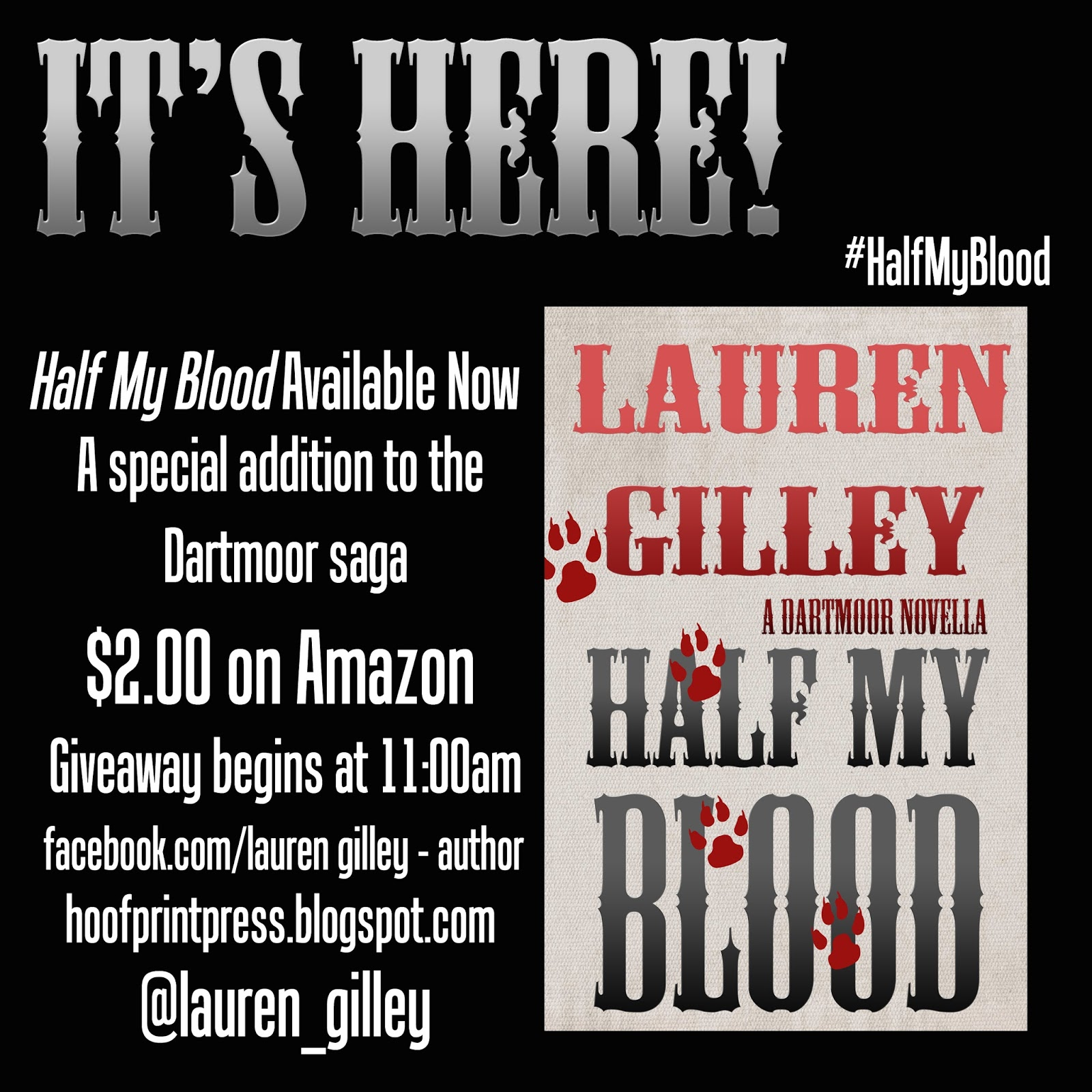 Hoofprint press half my blood download your ebook here im giving away 3 paperback copies via amazon and you can enter by following this link fandeluxe Images