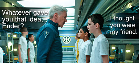 Picture of Harrison Ford as Colonel Graff talking to Asa Butterfield as Ender Wiggin in the Barracks of the Battleschool in Ender's Game Movie