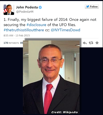 Counselor To Obama Regrets Not Disclosing UFO Files, He Tweets