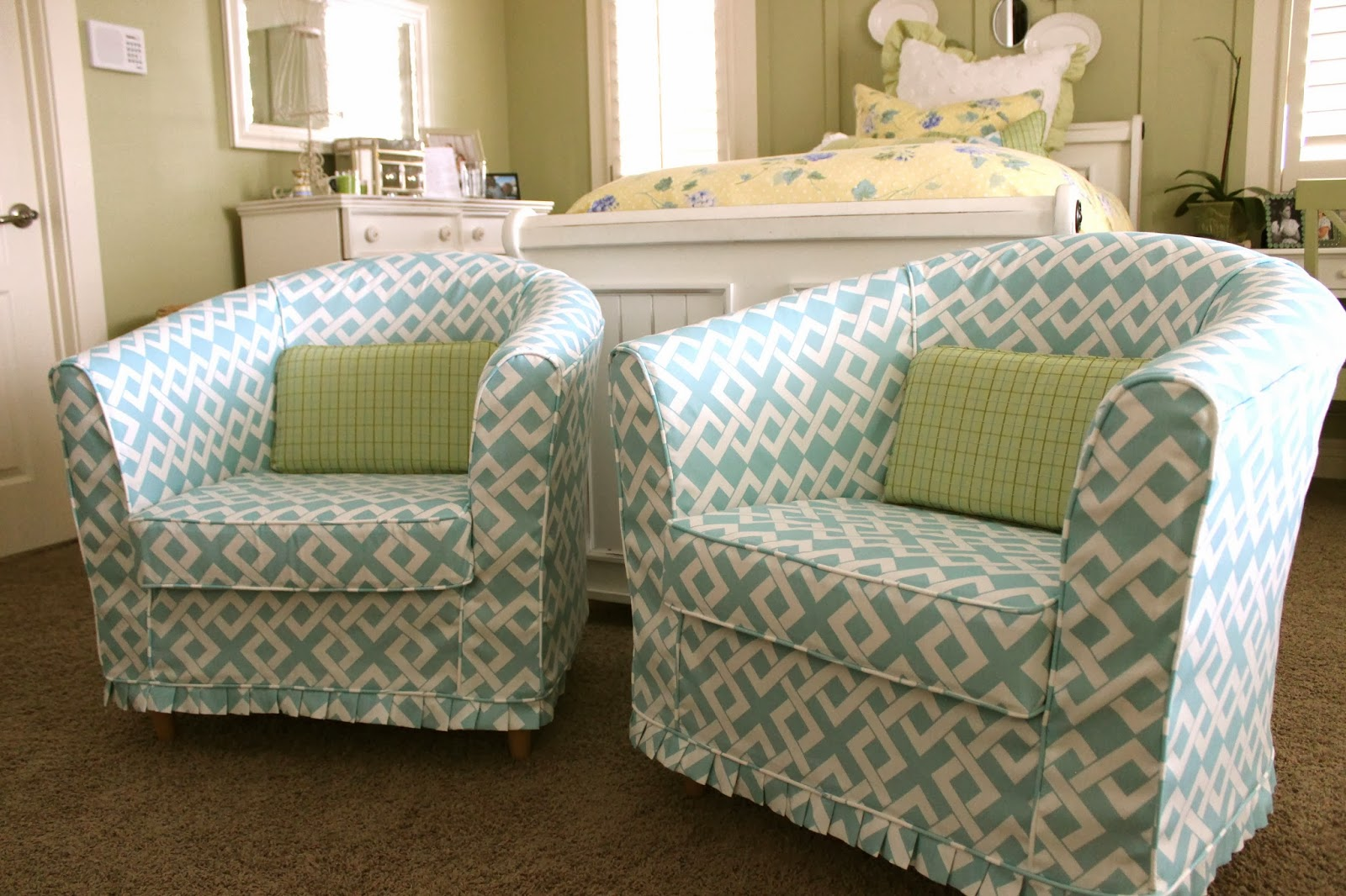 custom slipcovers by shelley pair of barrel chairs. Black Bedroom Furniture Sets. Home Design Ideas