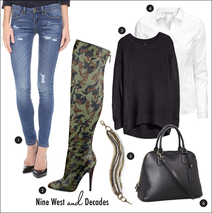 Nine West, Decades, Cameron silver, punk rock, camouflage, bowler handbag, express, nine west, h&M, skinny jeans, distressed jeans, destroyed denim