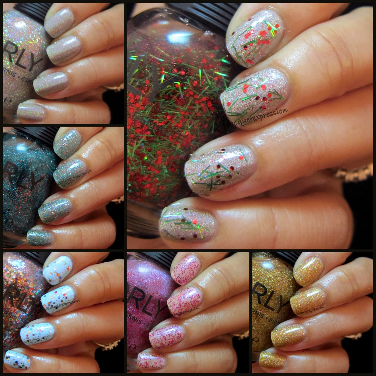 swatches of orly sparkle nail polish collection