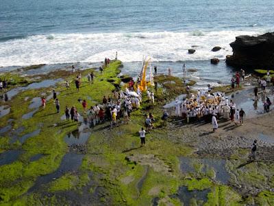 Religious Ceremony at Pura Tanah Lot Bali Indonesia