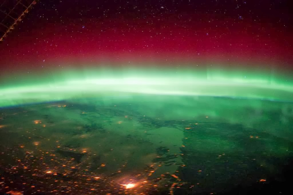 The aurora borealis or northern lights occur during
