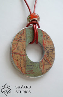 washer necklace, map decoupaged necklace, travel lover jewelry