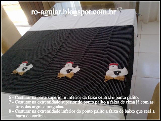 cortina de galinhas em patchwork com PAP (DIY)