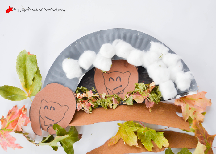 Hibernating bear paper plate craft and free template for Hibernation crafts for kids