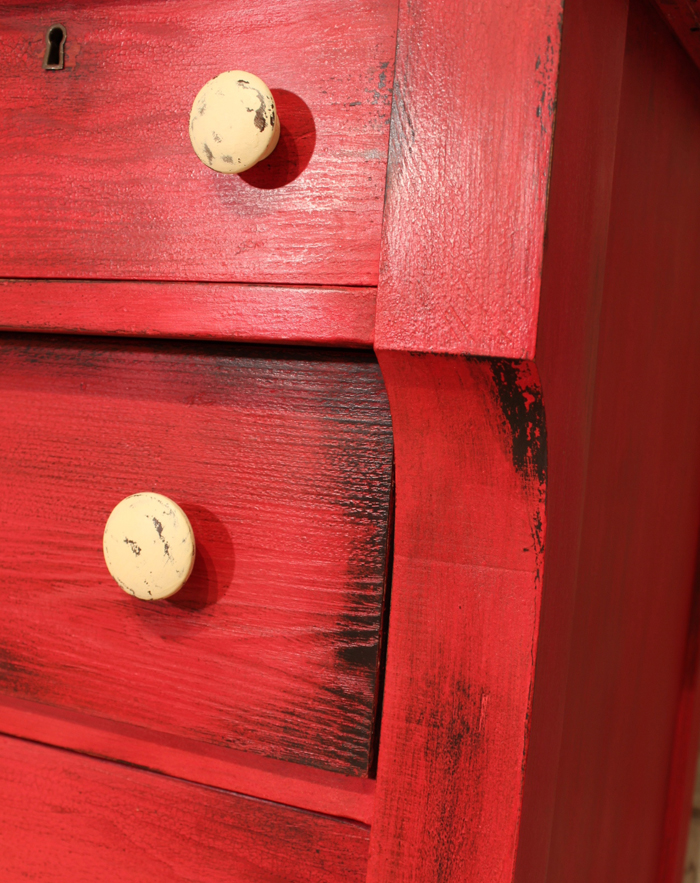 red distressed furniture first i painted the dresser
