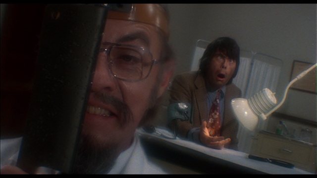 CREEPSHOW (1982): Jordy Verrill (Stephen King) pays a visit to crazed doctor (Bingo O' Malley) in CREEPSHOW.