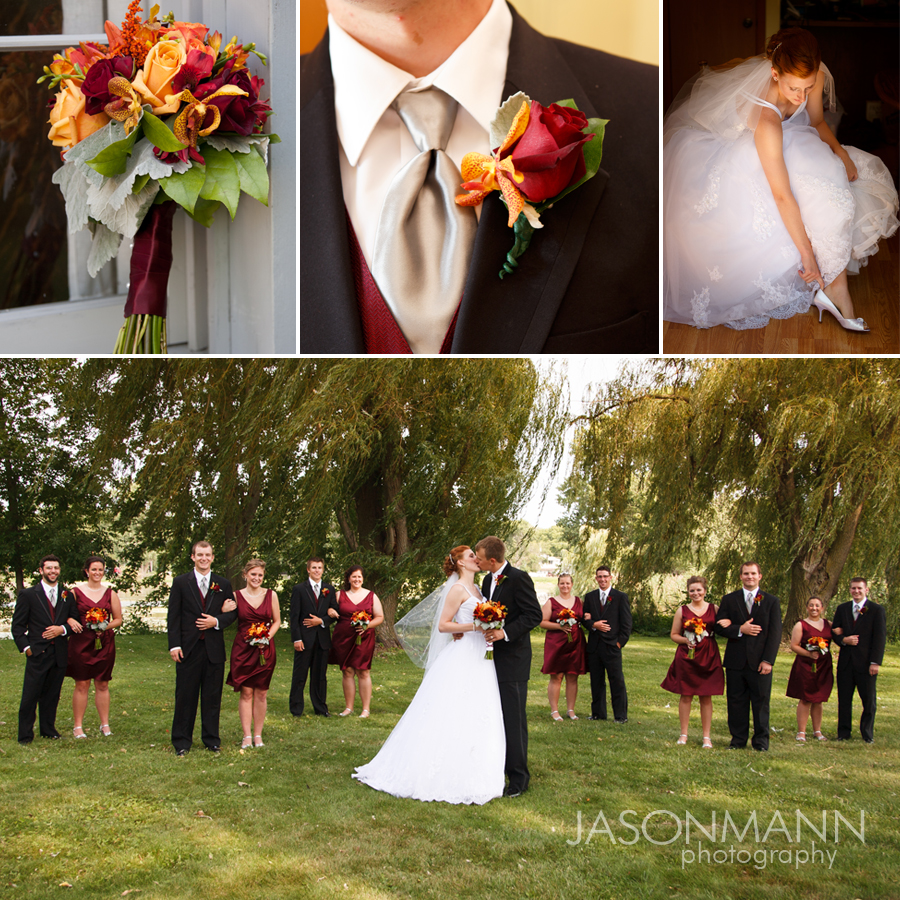 A deep burgundy Marsala found in the floral bouquets and bridesmaid dresses in this Door County wedding. Photos by Jason Mann Photography.