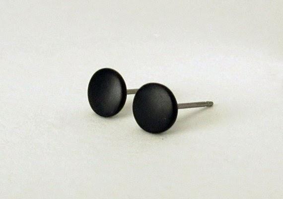 black matte stud earrings for men