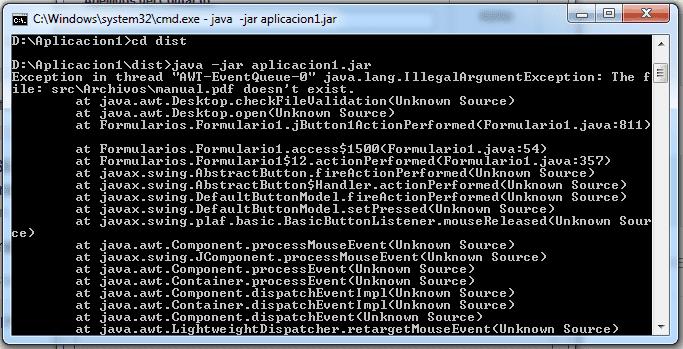 Visualización del error de una aplicación JAVA a través del D.O.S