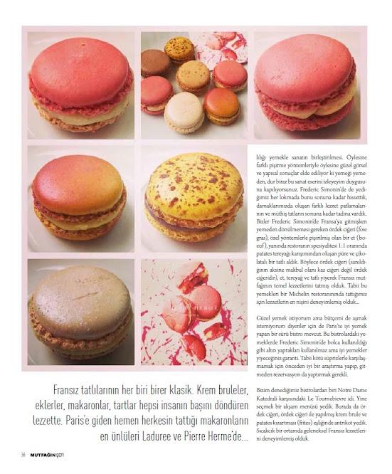 Fransız tatlılarından en ünlü olanlarından macaronlar, Paris Lezzetleri, Mutfağın Şefi dergisi