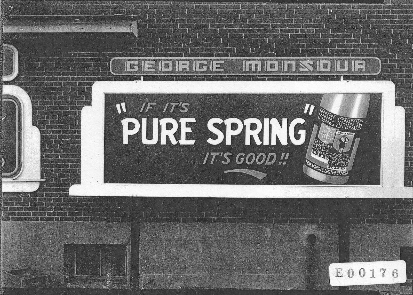 The Pure Spring billboard which was located on the side of the Westboro Confectionery - April 8 1946 (source: E00176 Sproul collection, City of Ottawa Archives) (this photo is just a placeholder - I am waiting for the colour original from the Archives)