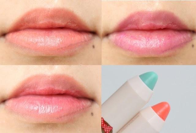 Peripera peri's tint crayons no. 2 and 3, on my lips