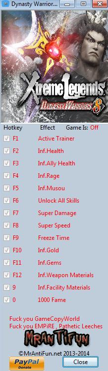Dynasty Warriors 8 Xtreme Legends V1.02 Trainer +13 MrAntiFun