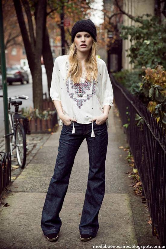 Moda invierno 2014 colección India Style pantalones y blusas.