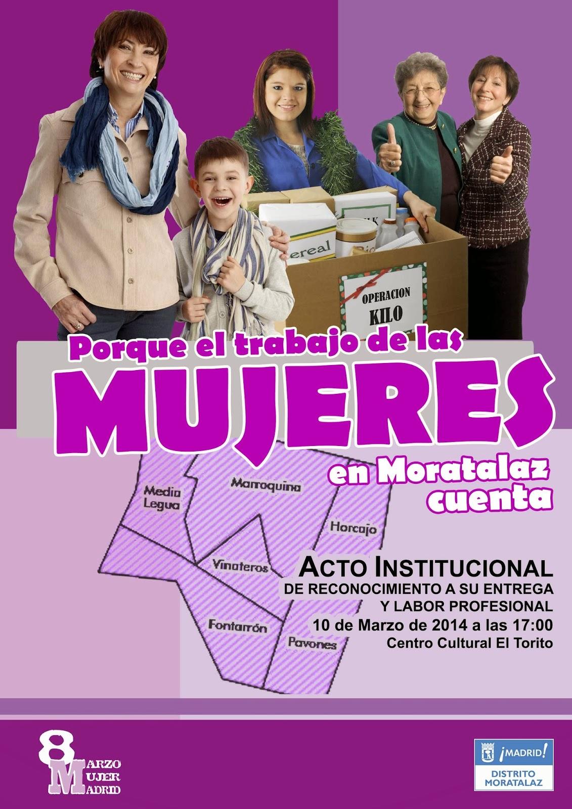 Cartel del acto de reconocimiento las mujeres de Moratalaz.