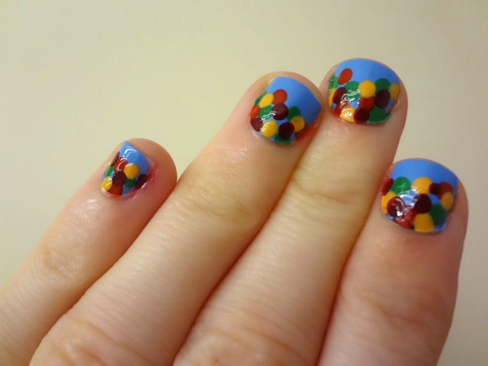 Autumn leaves nail design, colorful dots