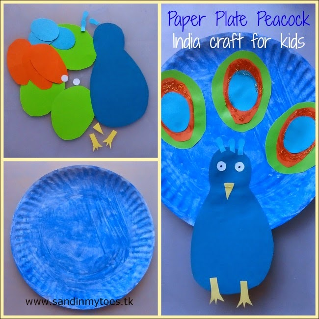 Paper plate peacock craft for kids for India's Republic Day