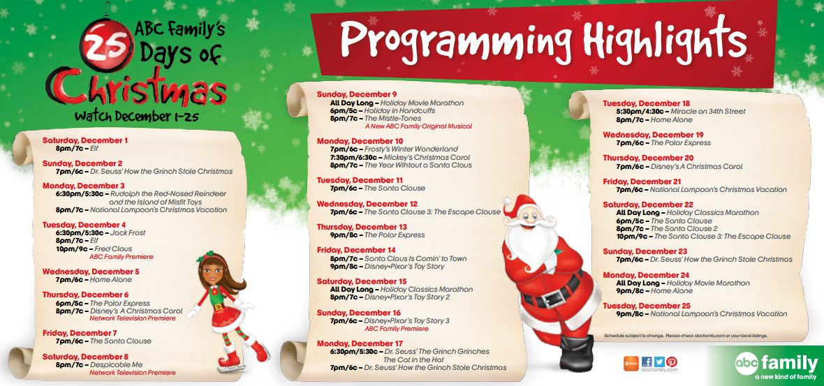2012 abc familys 25 days of christmas programming list - Abc 25 Days Of Christmas