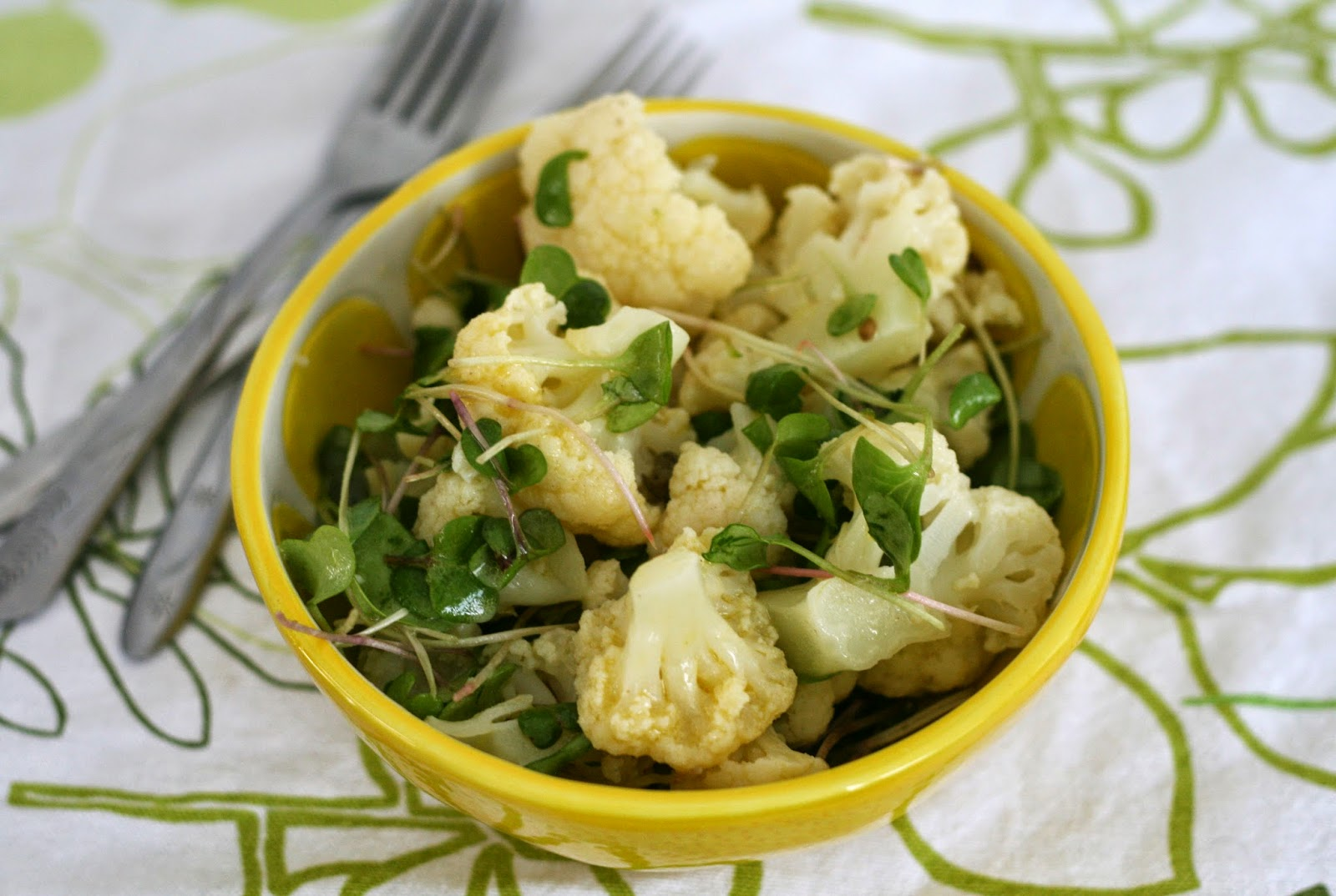 ... : Cauliflower & Radish Microgreen Salad with Lemon-Caper Dressing