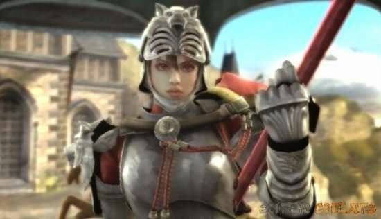 Female video game character in full knight armor.