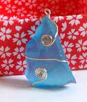 Manmade sea glass wire wrapping