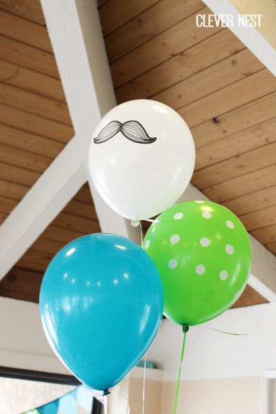 Aqua (teal), lime, and white baby boy shower. Balloons from Oriental Trading Co., links in post. Clever Nest #aquagraylime #boysfirstbirthday #hipsterparty #littlemantheme #clevernest #babyshowergameideas