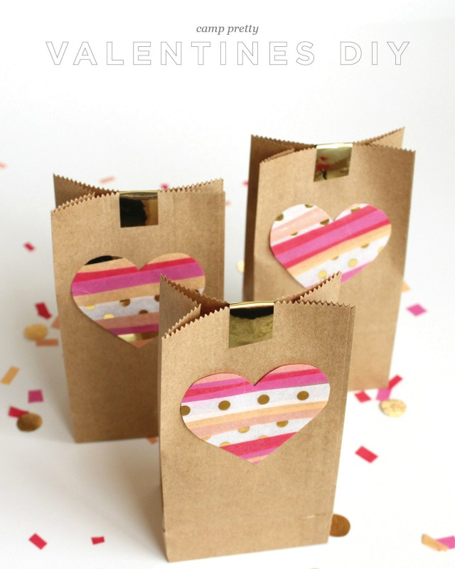 Decoraci n f cil valentines diy con bolsas de papel kraft - Manualidades con papel craft ...