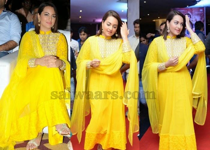 Sonakshi Sinha Yellow Brasso Churidar