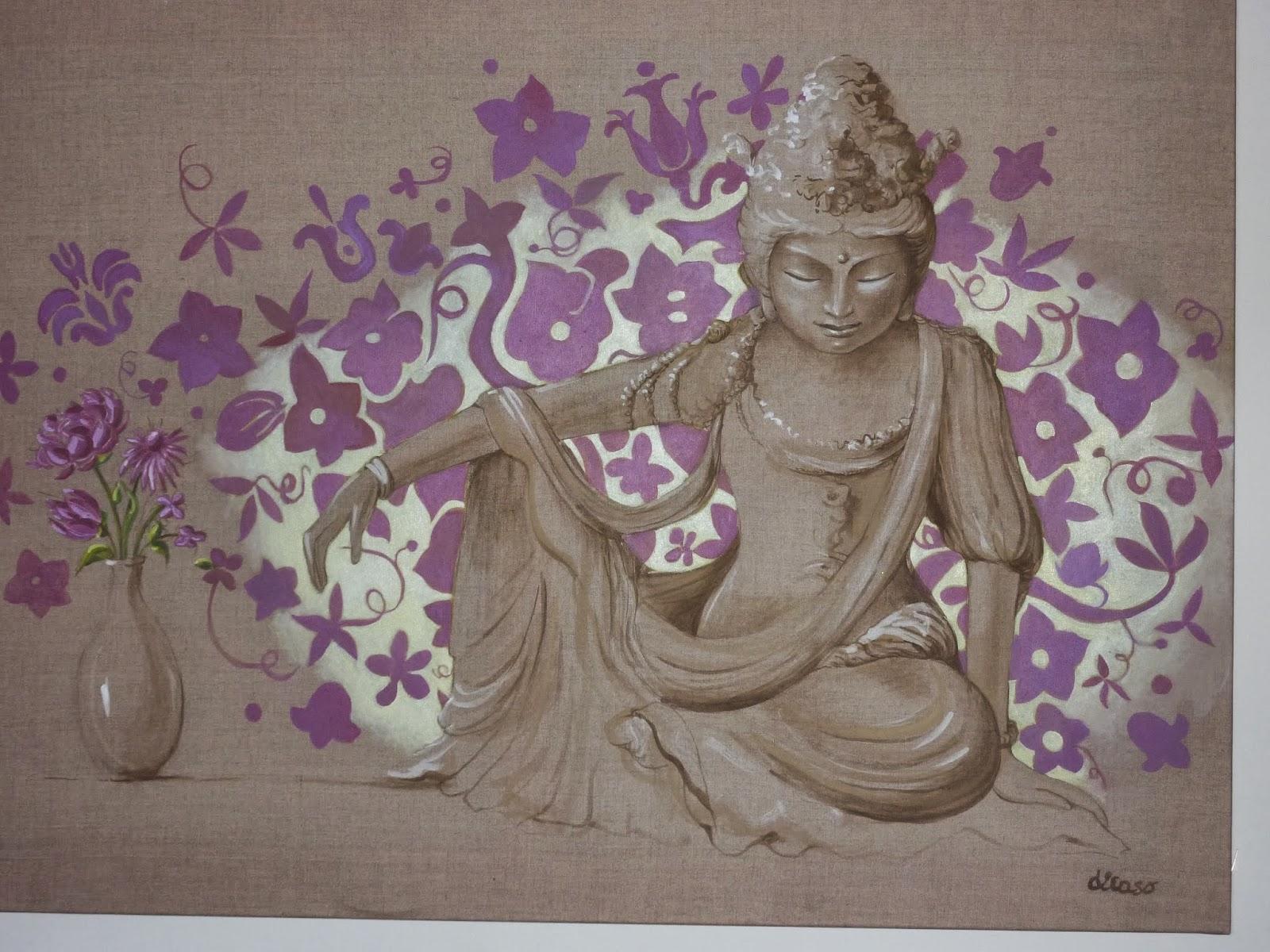 Yoga de l 39 quilibre hormonal de la femme peinture sur lin - Peinture sur lin ...