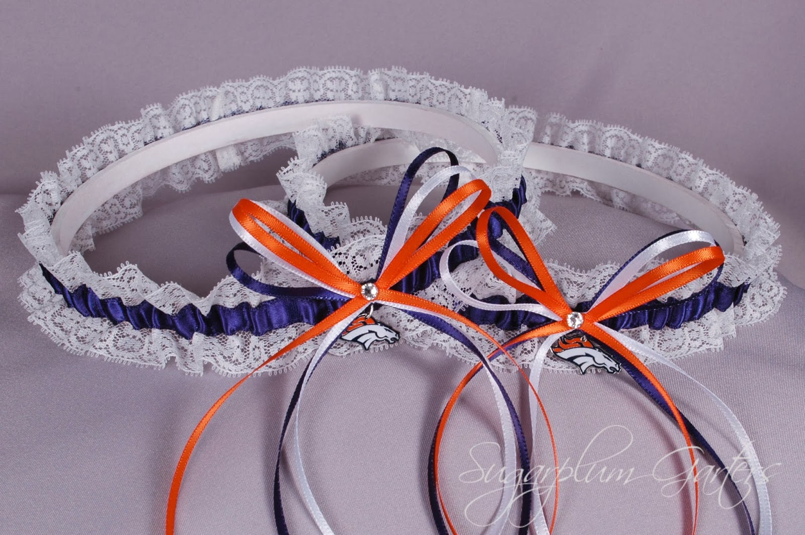 Denver Broncos Lace Garter Set by Sugarplum Garters