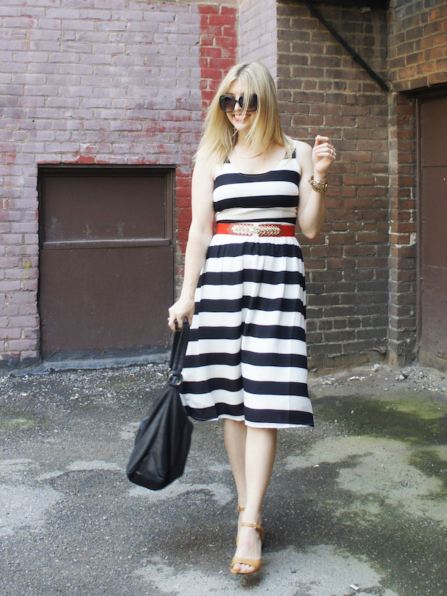 black and white stripe dress, red belt, ecco owen sandals