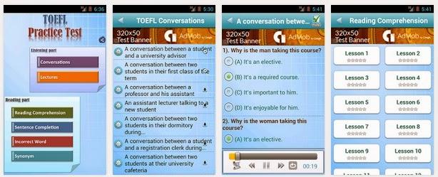 أفضل 10 تطبيقات مجانية للأندرويد للتدريب علي إختبارات التوفل Top 10 apps for training TOEFL tests APK