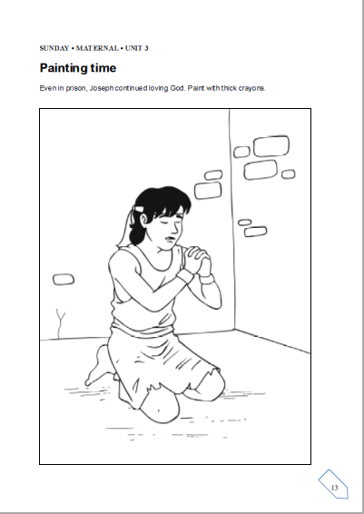 Children biblical centre cbc cbc lesson from 17th to for Joseph in jail coloring page
