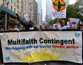 Faith-based groups at the People's Climate March on Sept 21, 2014. (Credit: Peter Bowden, flickr) Click to enlarge.