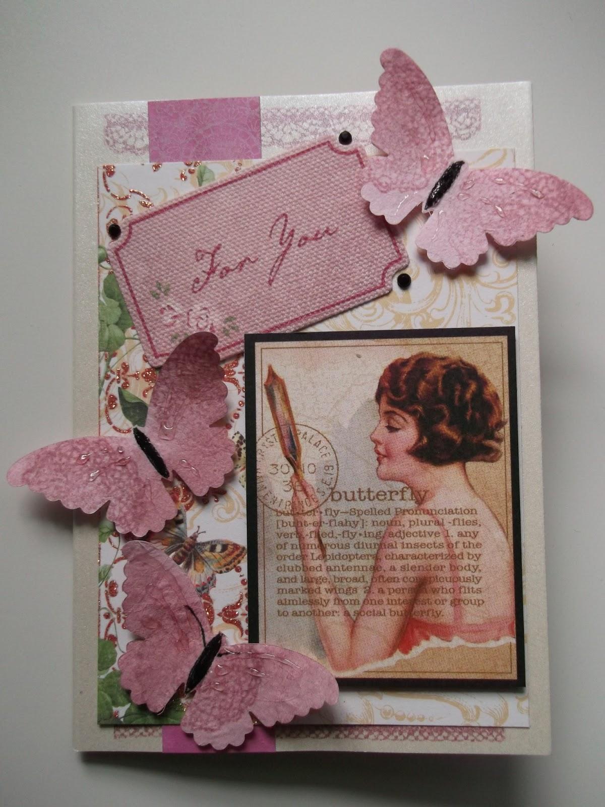 Onnittelukortti ystävälle, perhosia, naisen kuva