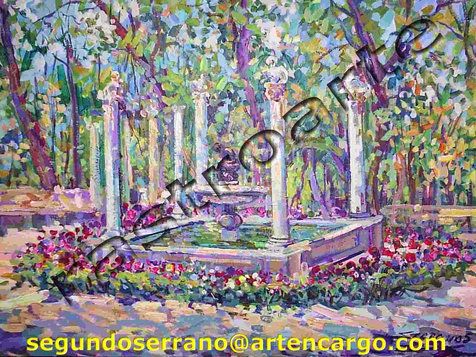 Vista de la fuente del niño de la espina en los jardines de Aranjuez