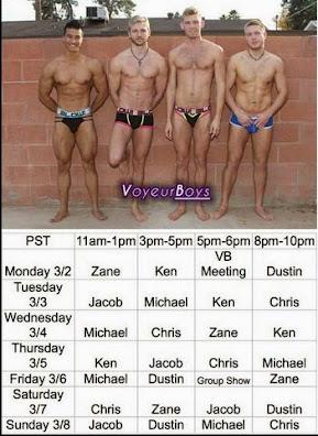 Voyeurboy Schedule<br> Mar 2-Mar 8